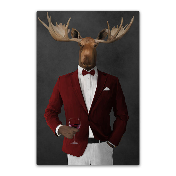 Moose drinking red wine wearing red and white suit canvas wall art