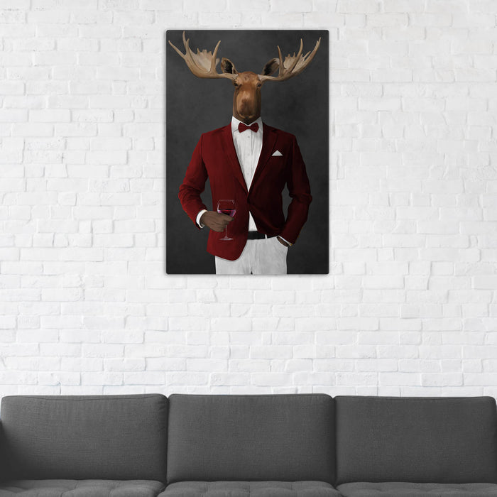 Moose Drinking Red Wine Wall Art - Red and White Suit