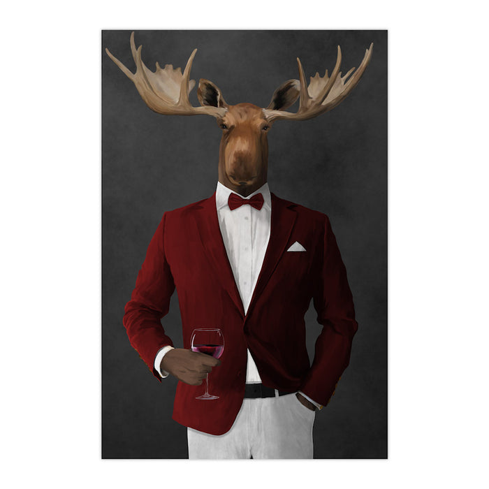 Moose drinking red wine wearing red and white suit large wall art print