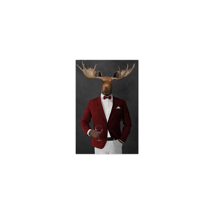 Moose drinking red wine wearing red and white suit small wall art print