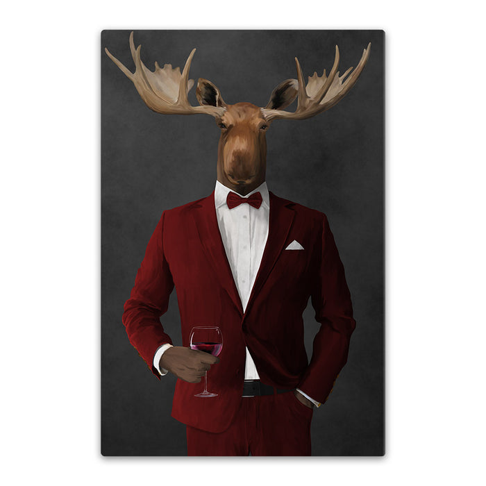 Moose drinking red wine wearing red suit canvas wall art