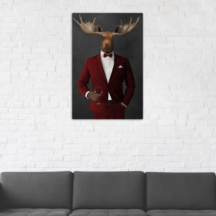 Moose Drinking Red Wine Wall Art - Red Suit