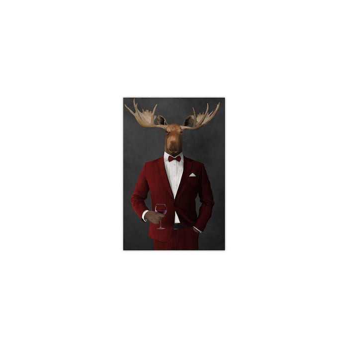 Moose drinking red wine wearing red suit small wall art print