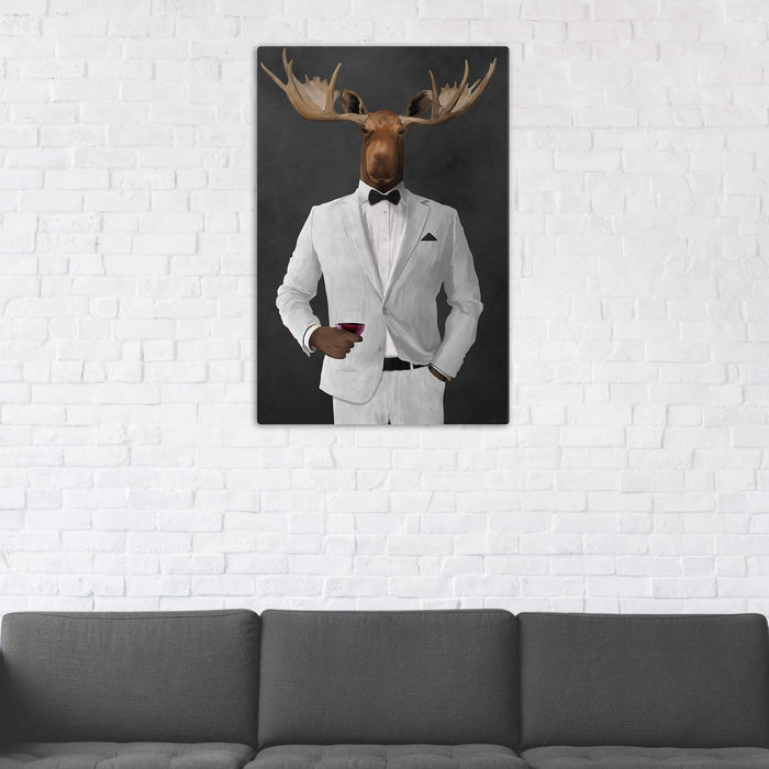 Moose Drinking Red Wine Wall Art - White Suit