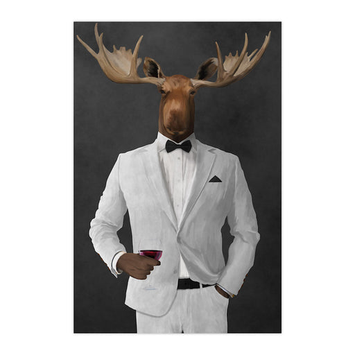 Moose drinking red wine wearing white suit large wall art print