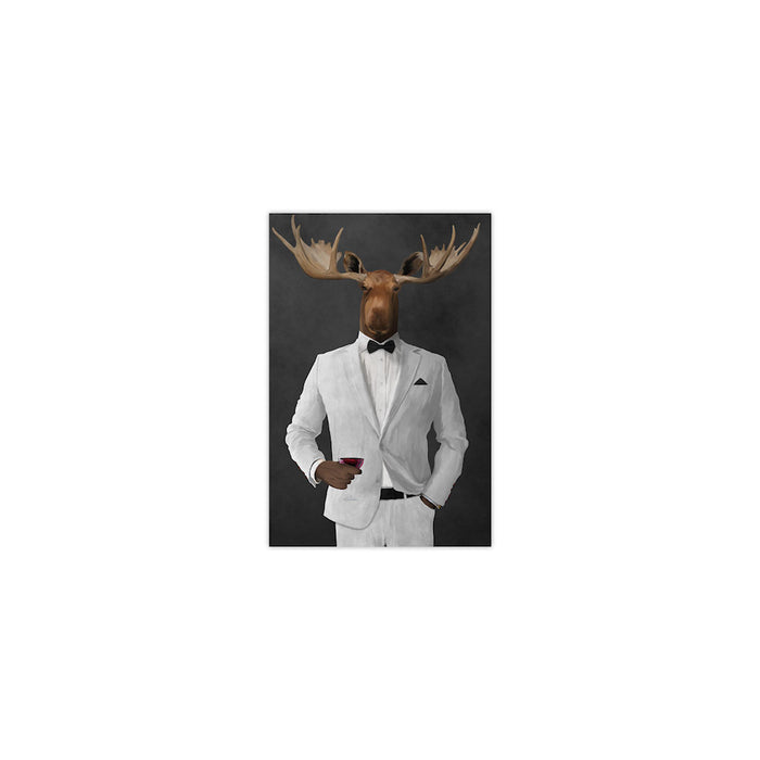Moose drinking red wine wearing white suit small wall art print