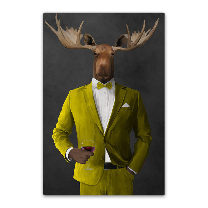 Moose drinking red wine wearing yellow suit canvas wall art