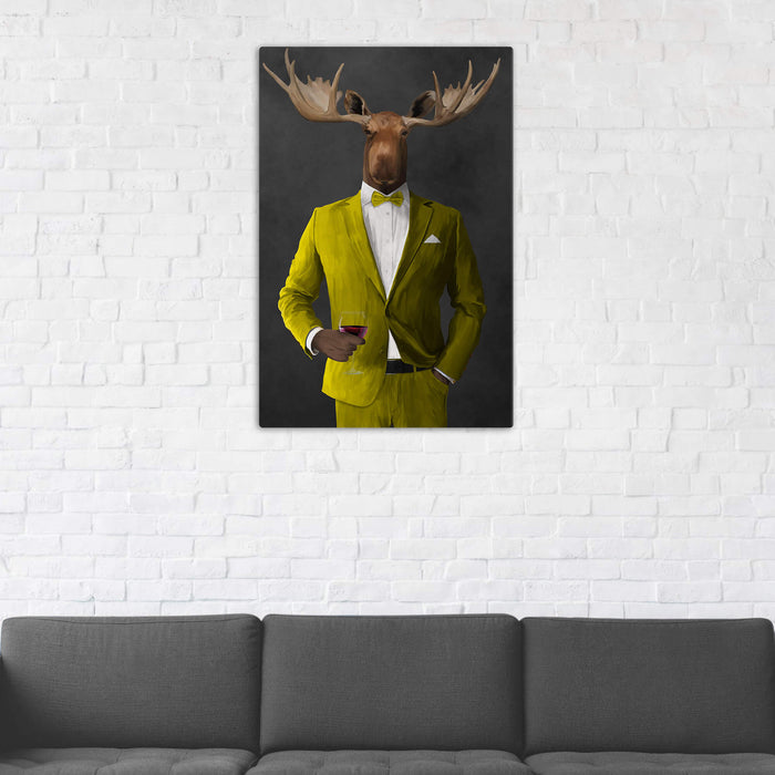 Moose Drinking Red Wine Wall Art - Yellow Suit