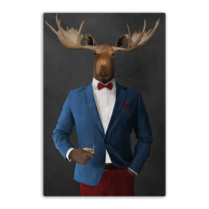 Moose drinking whiskey wearing blue and red suit canvas wall art
