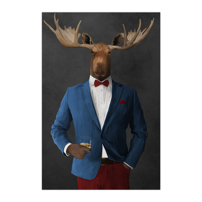 Moose drinking whiskey wearing blue and red suit large wall art print
