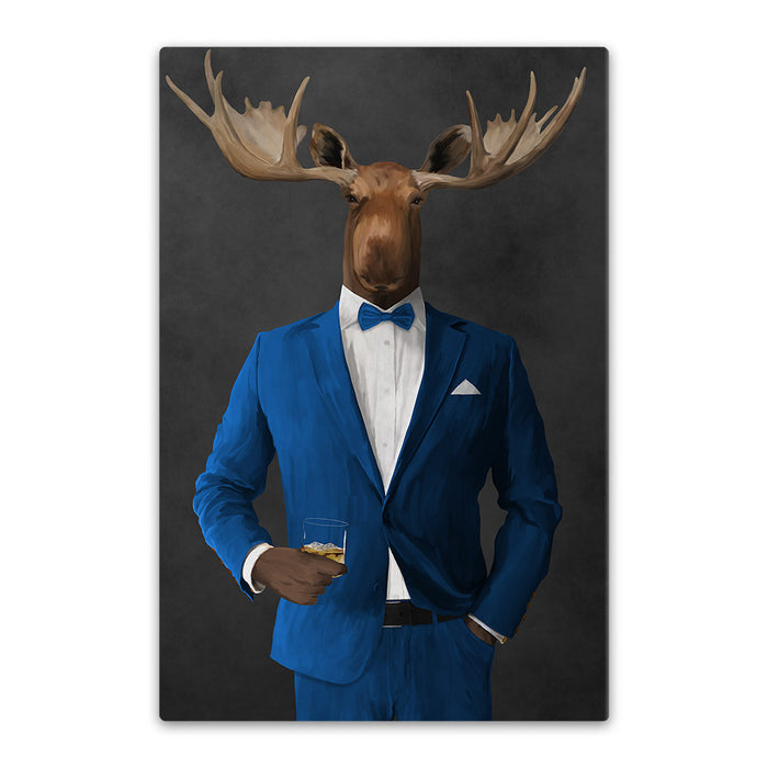 Moose drinking whiskey wearing blue suit canvas wall art