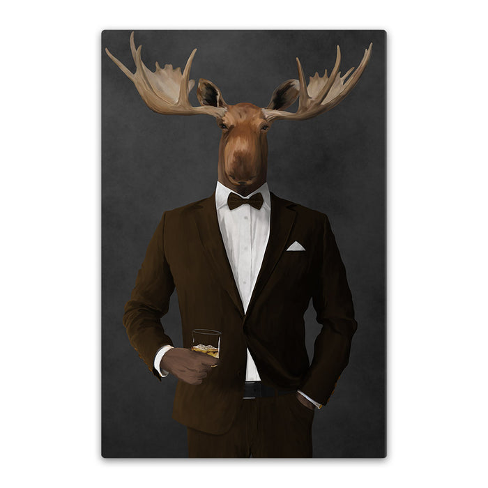 Moose drinking whiskey wearing brown suit canvas wall art