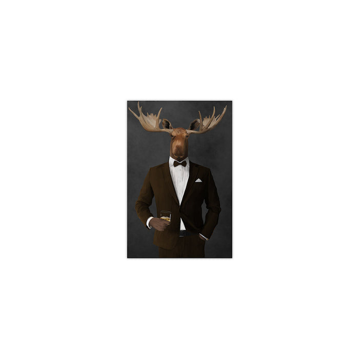 Moose drinking whiskey wearing brown suit small wall art print