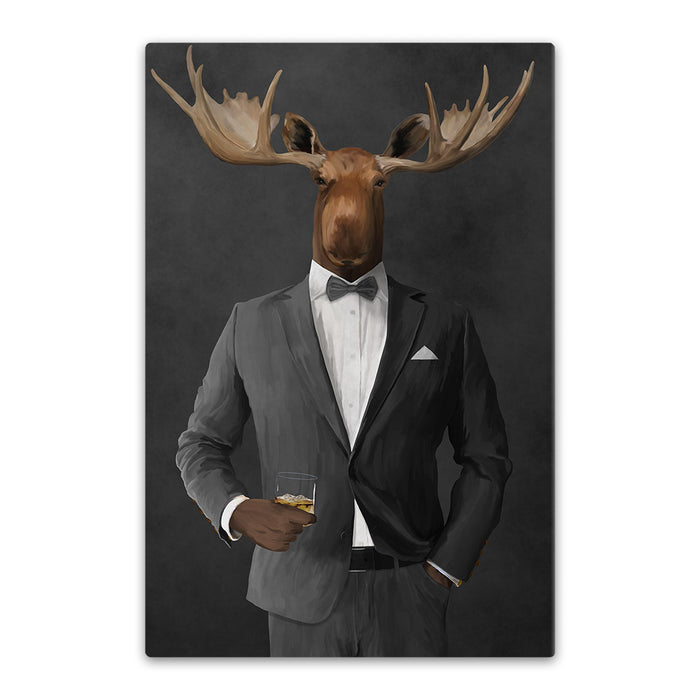 Moose drinking whiskey wearing gray suit canvas wall art