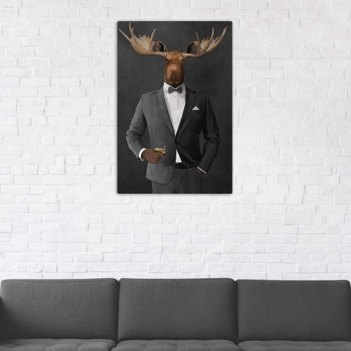 Moose Drinking Whiskey Wall Art - Gray Suit