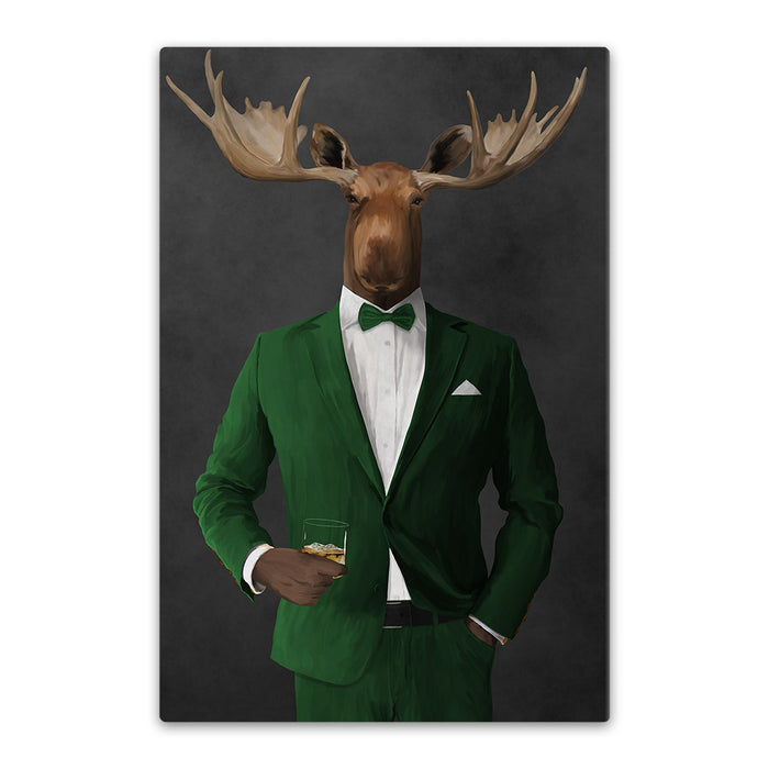 Moose drinking whiskey wearing green suit canvas wall art