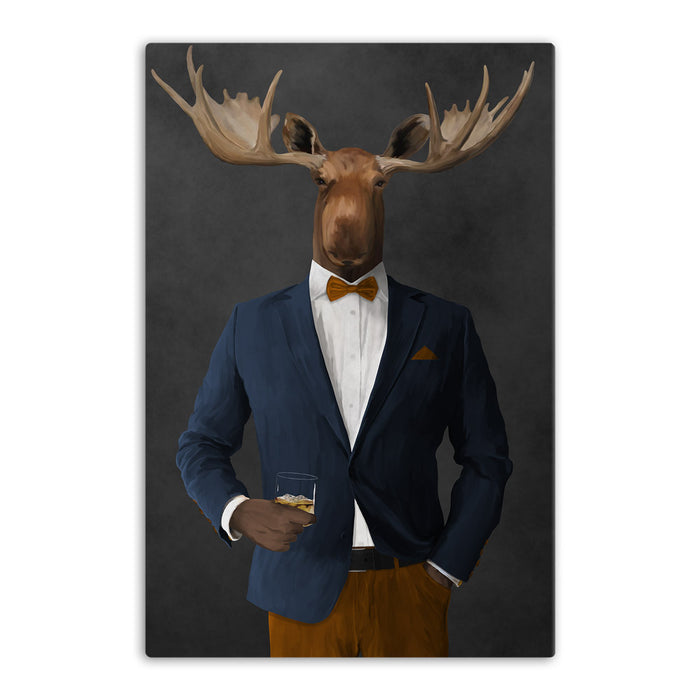 Moose drinking whiskey wearing navy and orange suit canvas wall art
