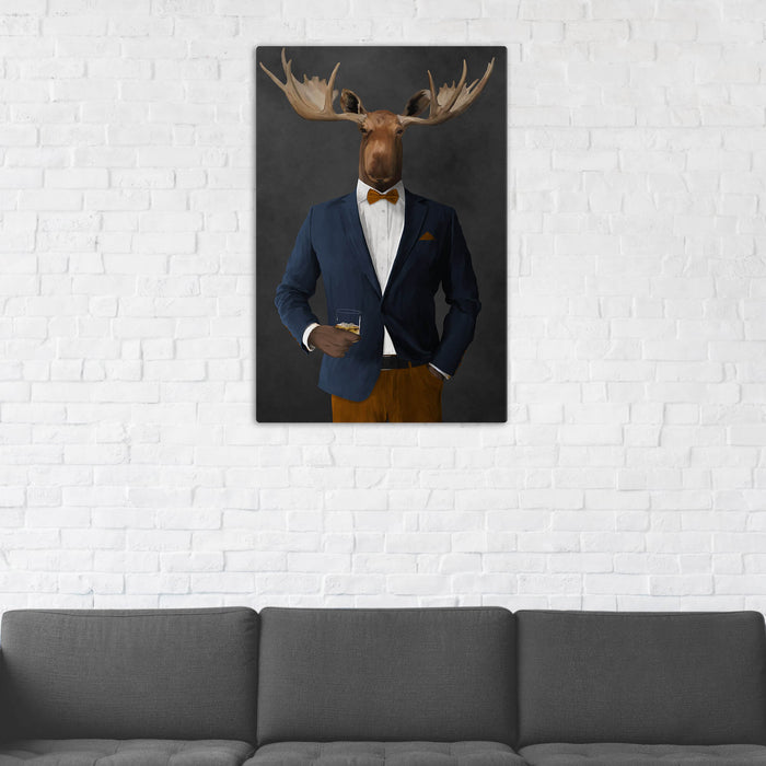 Moose Drinking Whiskey Wall Art - Navy and Orange Suit