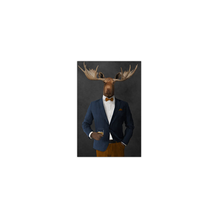 Moose drinking whiskey wearing navy and orange suit small wall art print