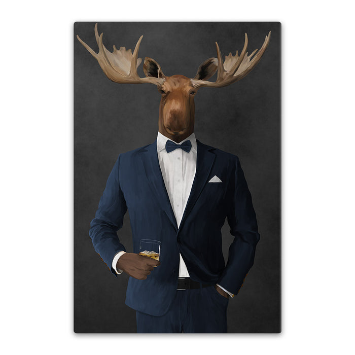 Moose drinking whiskey wearing navy suit canvas wall art