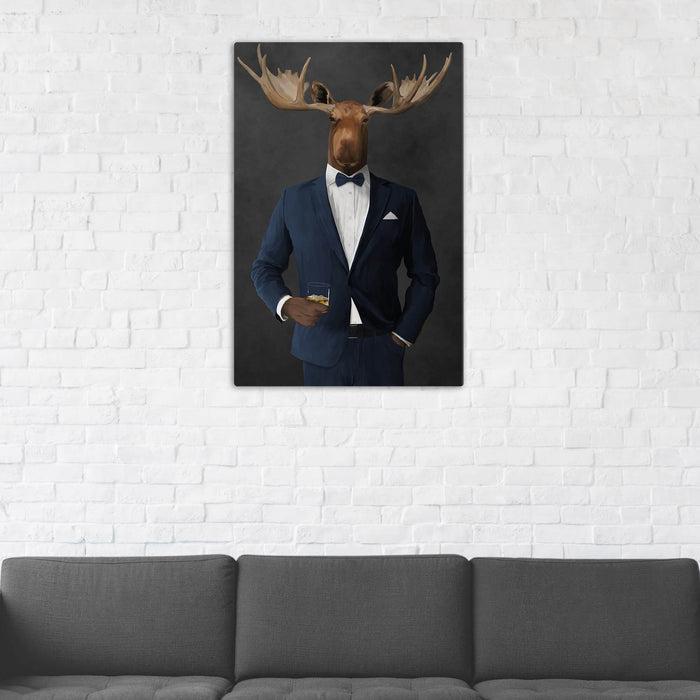 Moose Drinking Whiskey Wall Art - Navy Suit