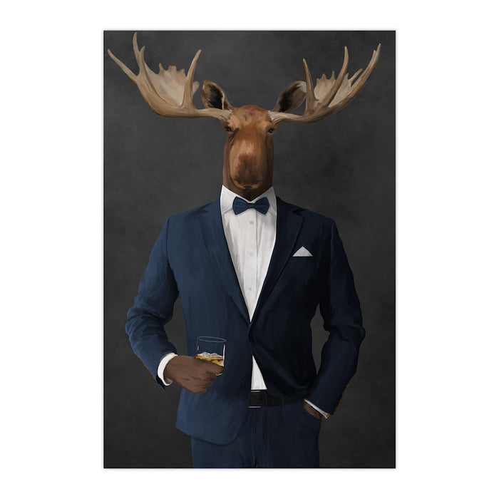 Moose drinking whiskey wearing navy suit large wall art print