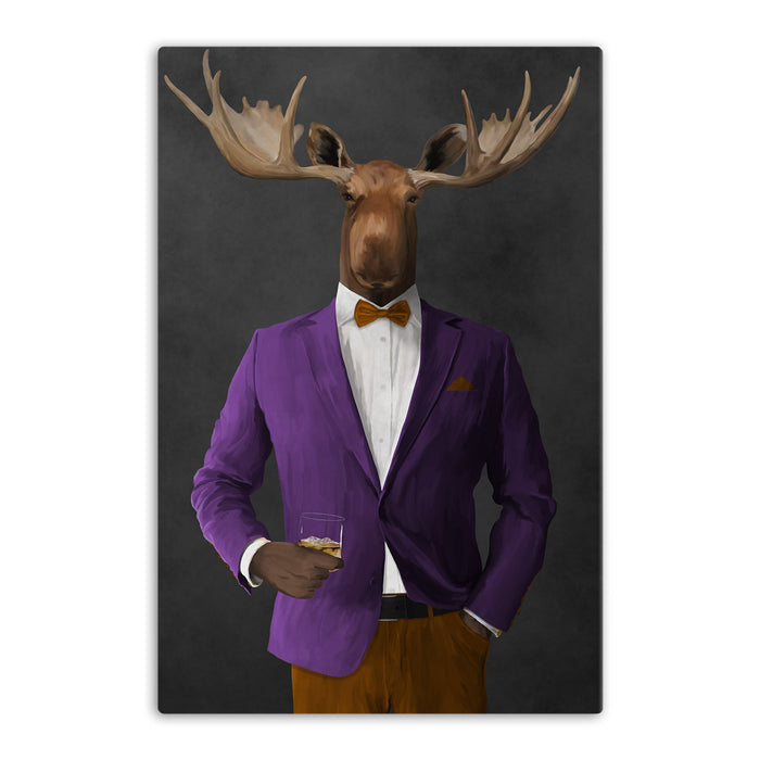 Moose drinking whiskey wearing purple and orange suit canvas wall art