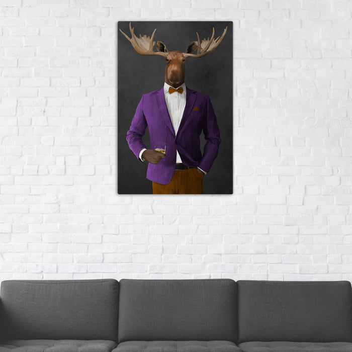Moose Drinking Whiskey Wall Art - Purple and Orange Suit