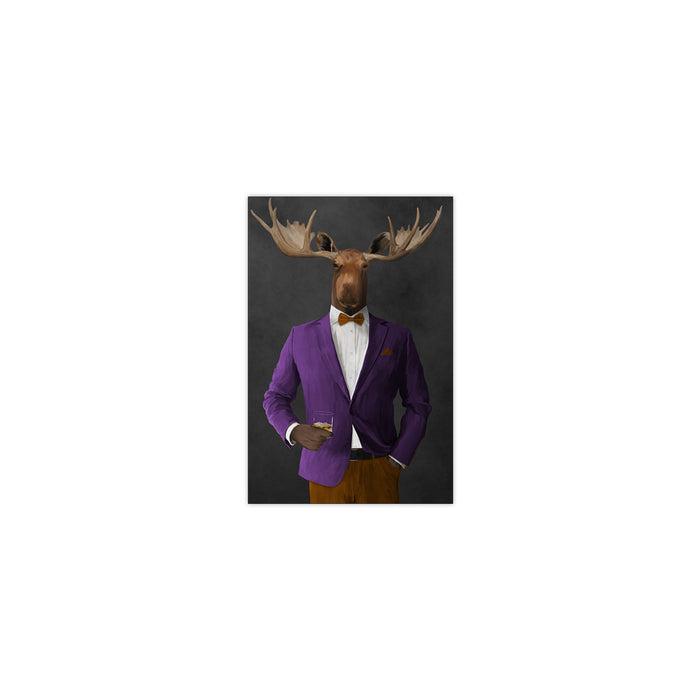Moose drinking whiskey wearing purple and orange suit small wall art print