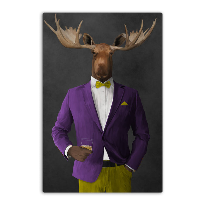 Moose drinking whiskey wearing purple and yellow suit canvas wall art