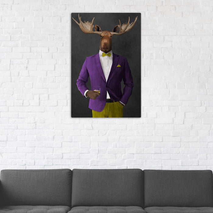 Moose Drinking Whiskey Wall Art - Purple and Yellow Suit