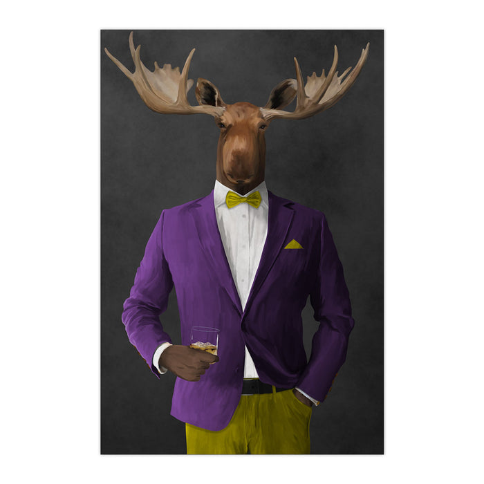 Moose drinking whiskey wearing purple and yellow suit large wall art print