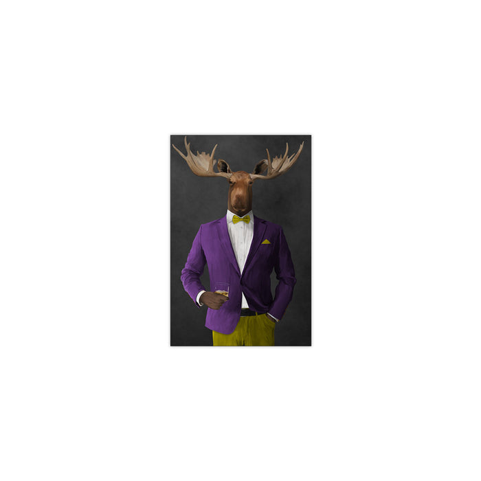 Moose drinking whiskey wearing purple and yellow suit small wall art print