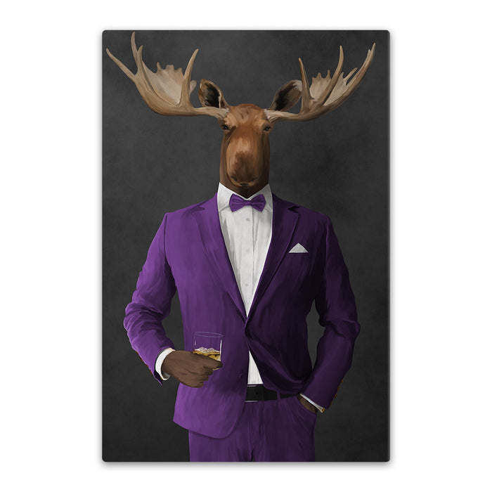 Moose drinking whiskey wearing purple suit canvas wall art