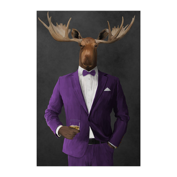 Moose drinking whiskey wearing purple suit large wall art print