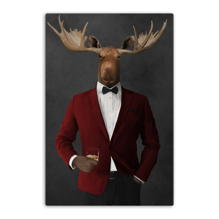 Moose drinking whiskey wearing red and black suit canvas wall art