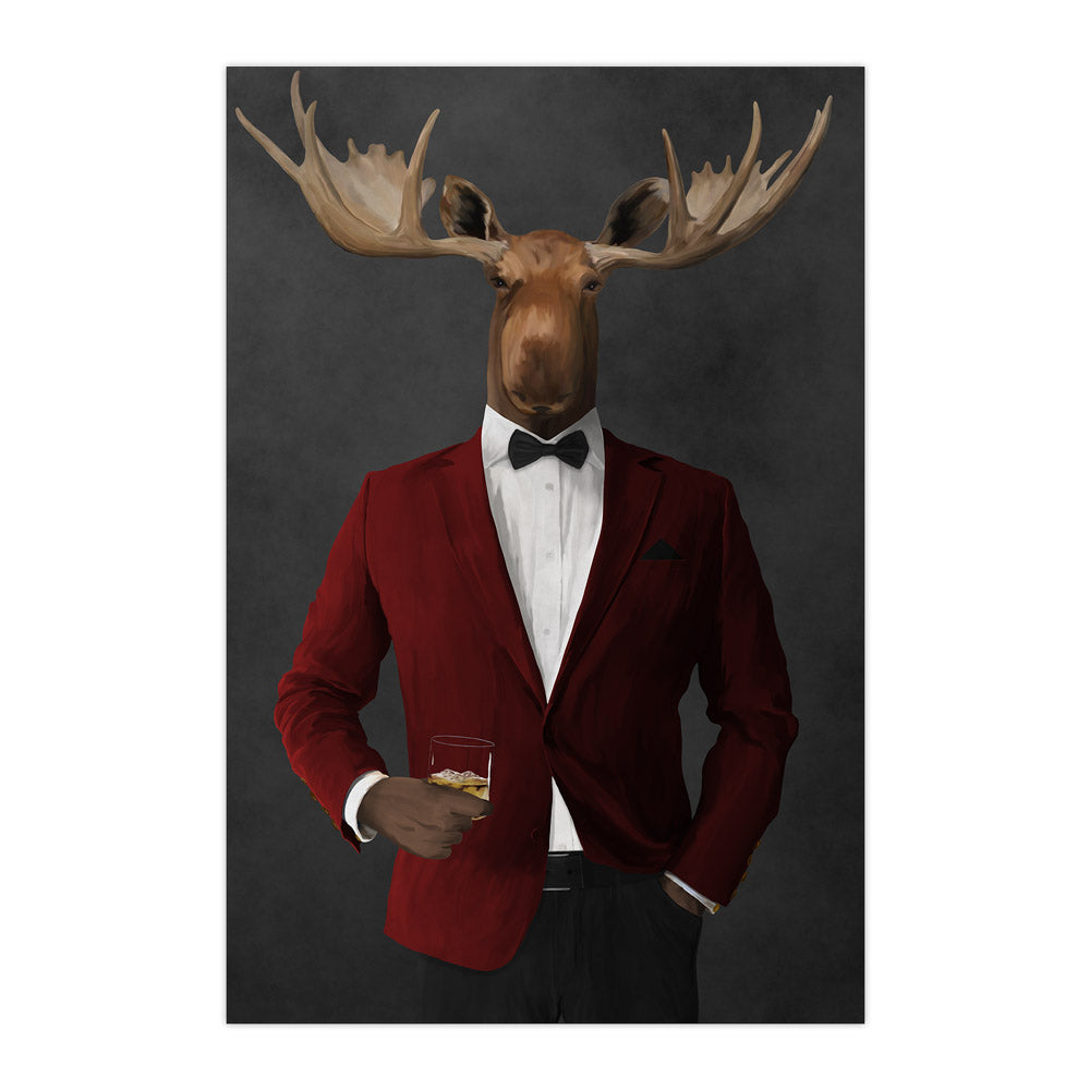 Moose drinking whiskey wearing red and black suit large wall art print