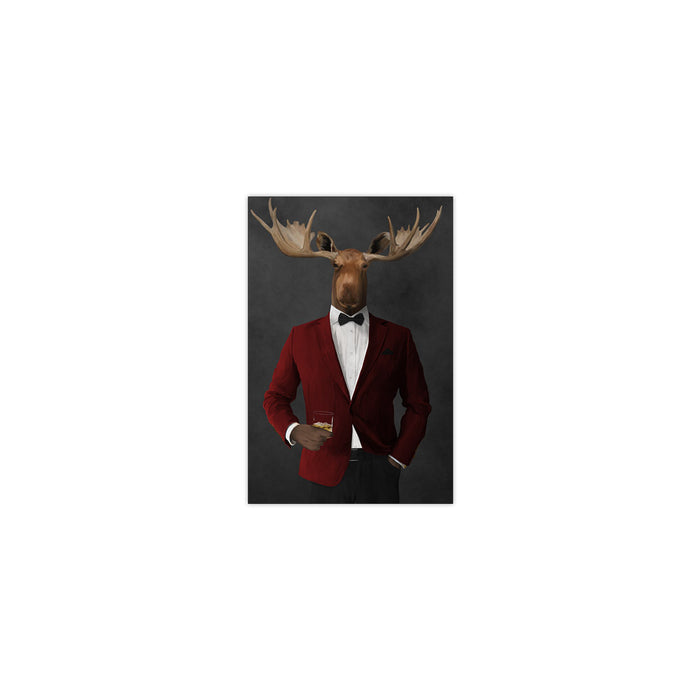 Moose drinking whiskey wearing red and black suit small wall art print