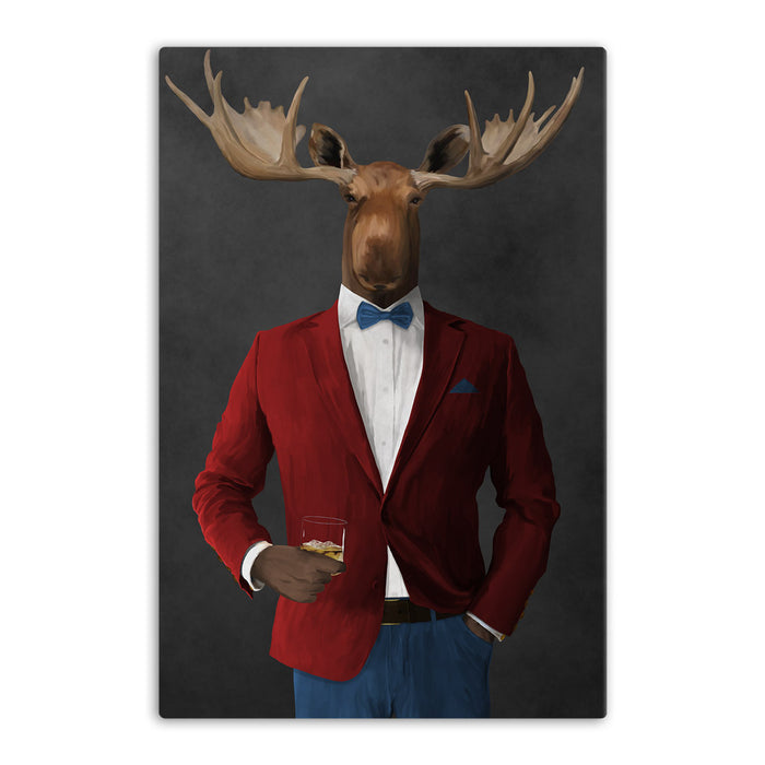 Moose drinking whiskey wearing red and blue suit canvas wall art