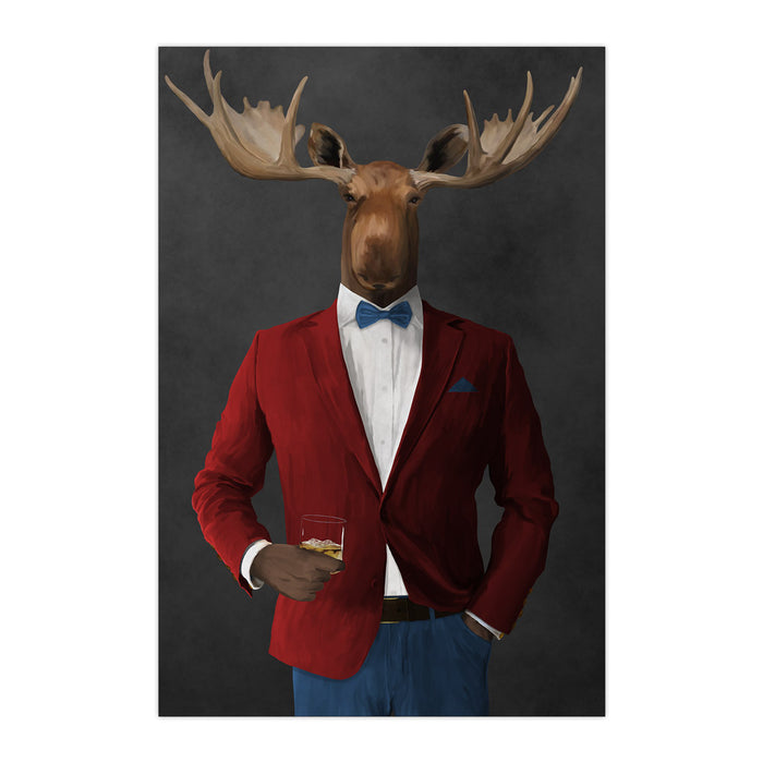 Moose drinking whiskey wearing red and blue suit large wall art print