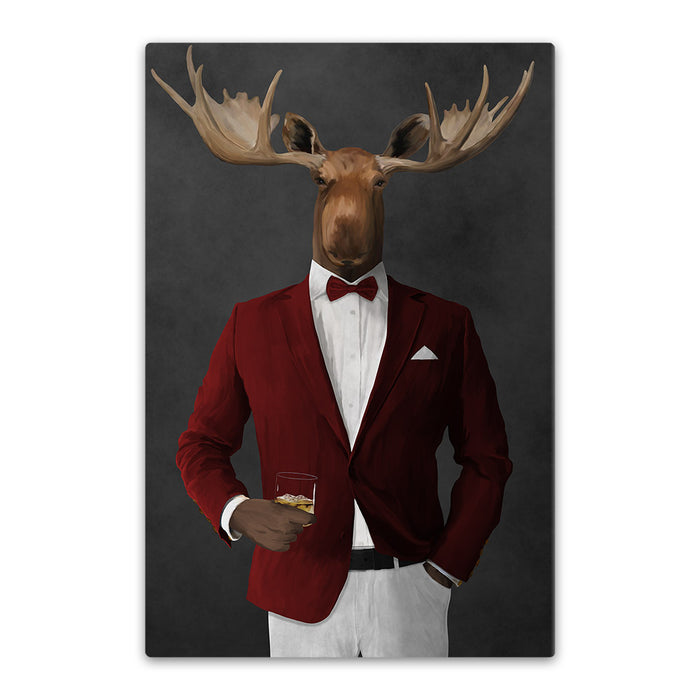 Moose drinking whiskey wearing red and white suit canvas wall art