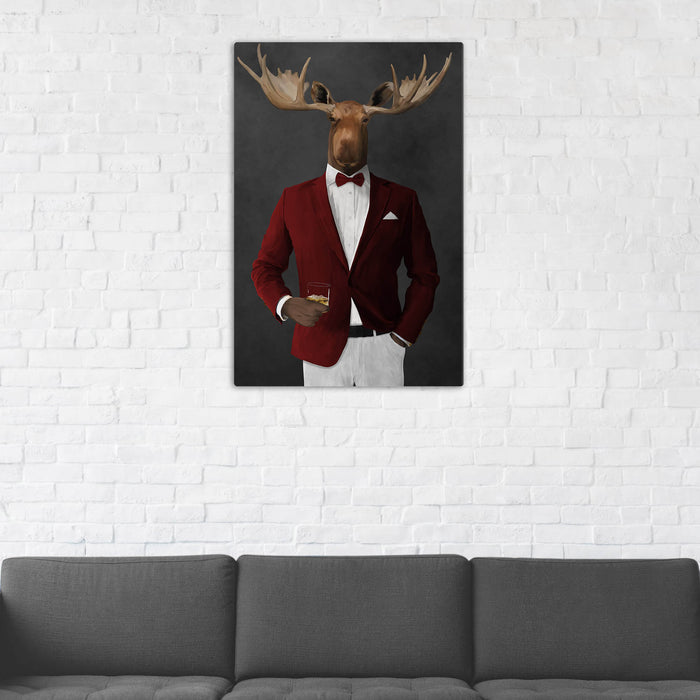 Moose Drinking Whiskey Wall Art - Red and White Suit