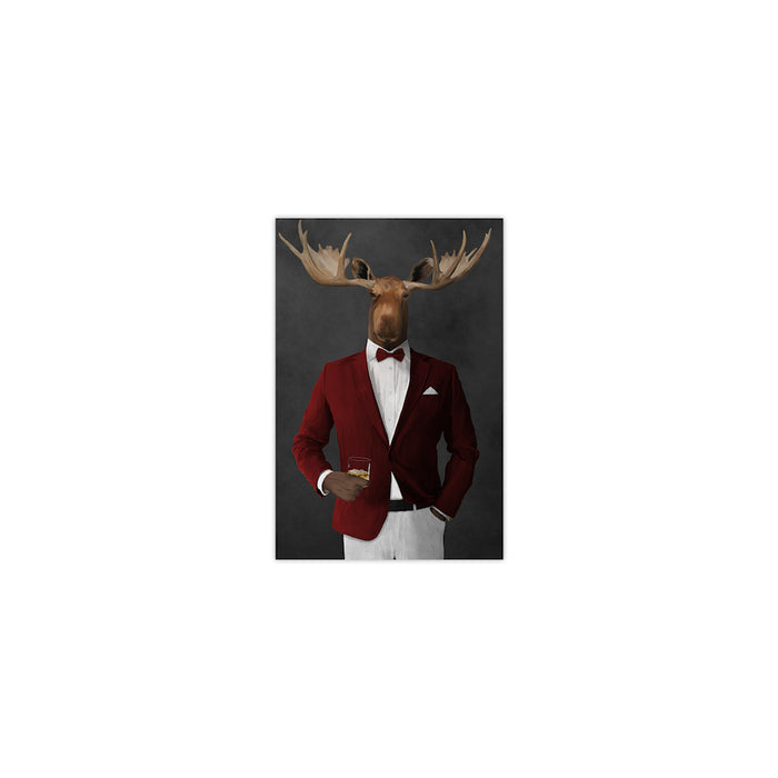 Moose drinking whiskey wearing red and white suit small wall art print