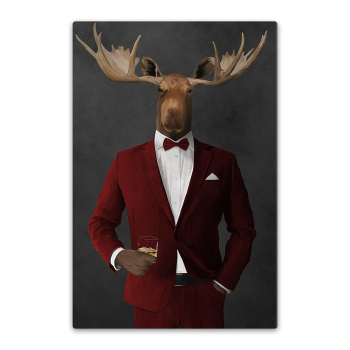 Moose drinking whiskey wearing red suit canvas wall art