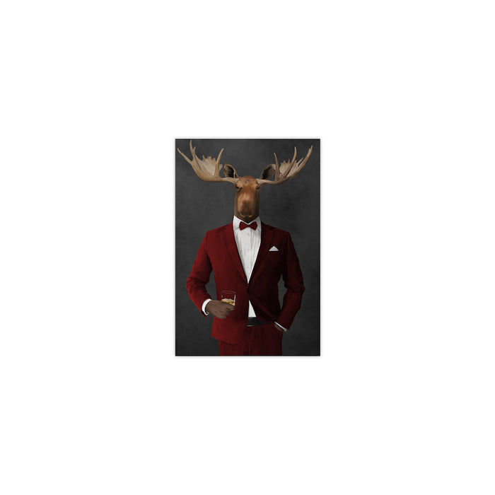 Moose drinking whiskey wearing red suit small wall art print