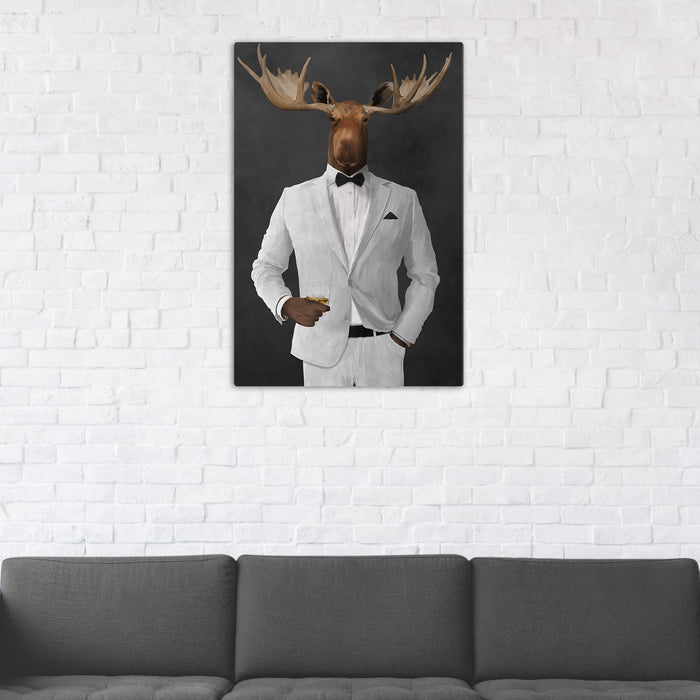 Moose Drinking Whiskey Wall Art - White Suit