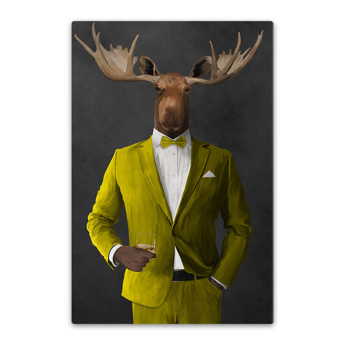 Moose drinking whiskey wearing yellow suit canvas wall art