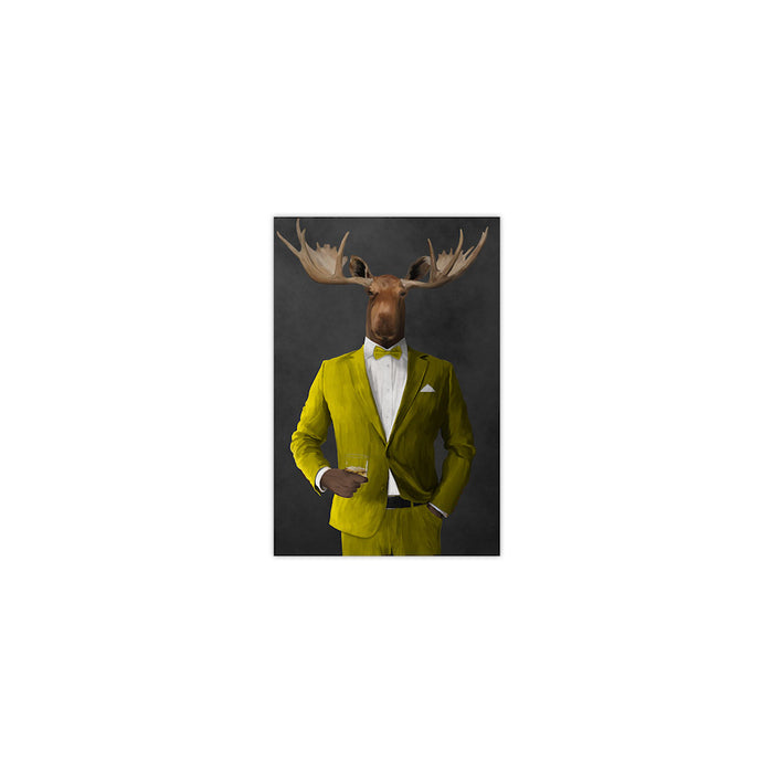 Moose drinking whiskey wearing yellow suit small wall art print