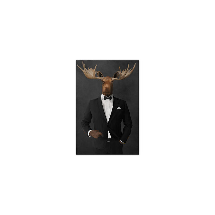 Moose smoking cigar wearing black suit small wall art print