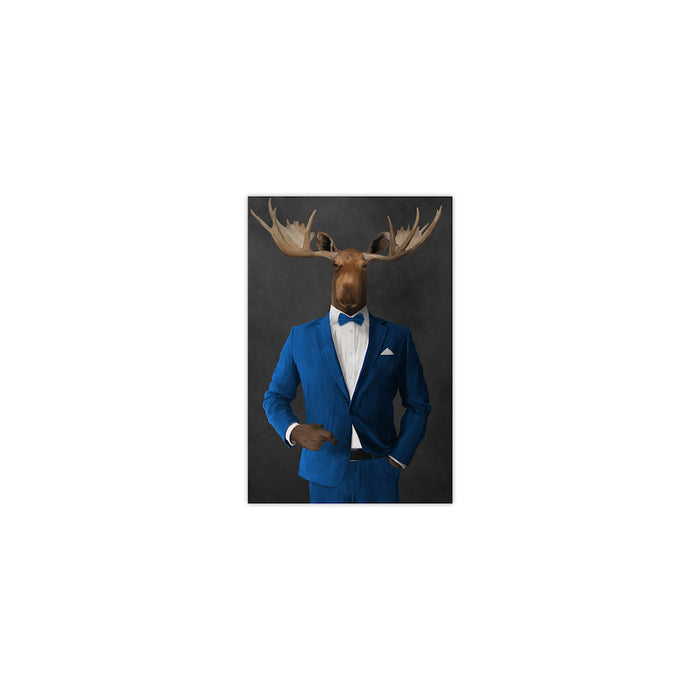 Moose smoking cigar wearing blue suit small wall art print